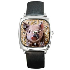 Sweet Piglet Square Metal Watches