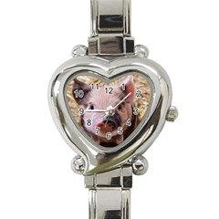 Sweet Piglet Heart Italian Charm Watch