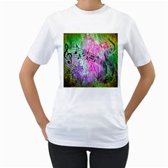 Abstract Music  Women s T Shirt (white) (two Sided)