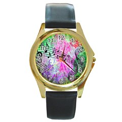 Abstract Music  Round Gold Metal Watches