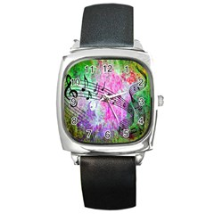 Abstract Music  Square Metal Watches