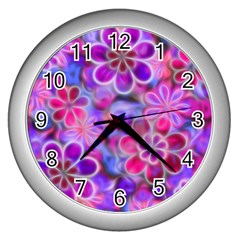 Pretty Floral Painting Wall Clocks (silver)  by KirstenStar