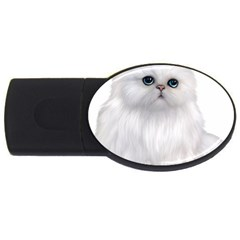 White Persian Cat Clipart Usb Flash Drive Oval (2 Gb)  by AlteredStates