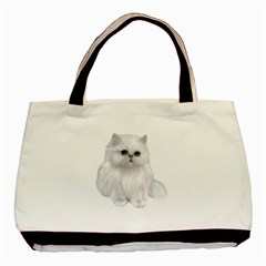 White Persian Cat Clipart Basic Tote Bag  by AlteredStates