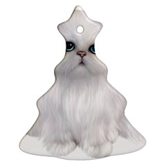 White Persian Cat Clipart Christmas Tree Ornament (2 Sides) by AlteredStates