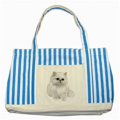 White Persian Cat Clipart Striped Blue Tote Bag  by AlteredStates