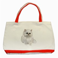 White Persian Cat Clipart Classic Tote Bag (red)  by AlteredStates