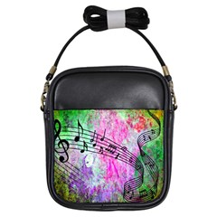 Abstract Music 2 Girls Sling Bags