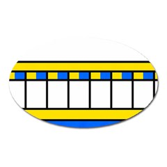 Stripes And Squares Magnet (oval) by LalyLauraFLM