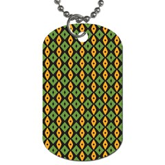 Green Yellow Rhombus Pattern Dog Tag (two Sides) by LalyLauraFLM