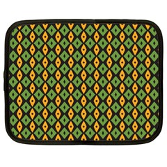 Green Yellow Rhombus Pattern Netbook Case (xl) by LalyLauraFLM