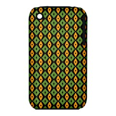 Green Yellow Rhombus Pattern Apple Iphone 3g/3gs Hardshell Case (pc+silicone) by LalyLauraFLM