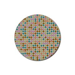 Retro Dots Pattern Rubber Coaster (round) by LalyLauraFLM