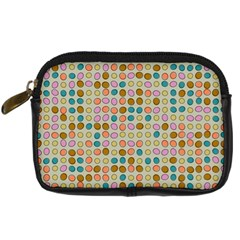 Retro Dots Pattern Digital Camera Leather Case by LalyLauraFLM