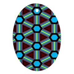 Stripes And Hexagon Pattern Ornament (oval) by LalyLauraFLM
