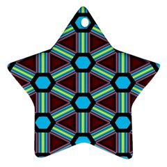 Stripes And Hexagon Pattern Ornament (star) by LalyLauraFLM