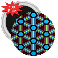 Stripes And Hexagon Pattern 3  Magnet (100 Pack) by LalyLauraFLM