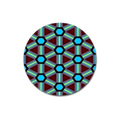 Stripes And Hexagon Pattern Magnet 3  (round) by LalyLauraFLM