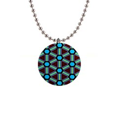 Stripes And Hexagon Pattern 1  Button Necklace by LalyLauraFLM