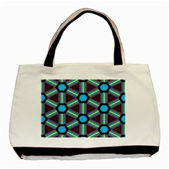 Stripes And Hexagon Pattern Basic Tote Bag (two Sides) by LalyLauraFLM