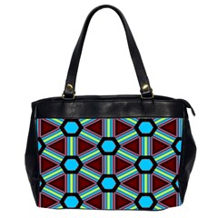 Stripes And Hexagon Pattern Oversize Office Handbag (2 Sides) by LalyLauraFLM