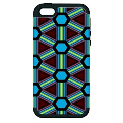 Stripes And Hexagon Pattern Apple Iphone 5 Hardshell Case (pc+silicone) by LalyLauraFLM