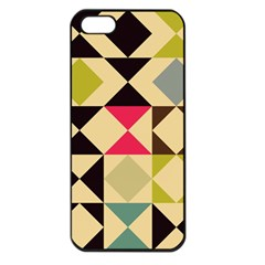 Rhombus And Triangles Pattern Apple Iphone 5 Seamless Case (black) by LalyLauraFLM