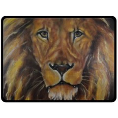Cecil The African Lion Double Sided Fleece Blanket (large)  by timelessartoncanvas