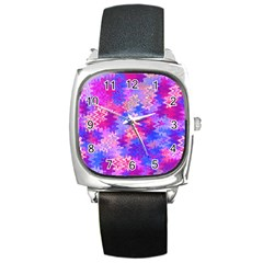 Pink And Purple Marble Waves Square Metal Watches by KirstenStar