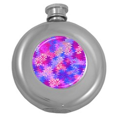 Pink And Purple Marble Waves Round Hip Flask (5 Oz) by KirstenStar