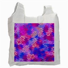 Pink And Purple Marble Waves Recycle Bag (two Side)  by KirstenStar