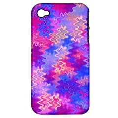 Pink And Purple Marble Waves Apple Iphone 4/4s Hardshell Case (pc+silicone) by KirstenStar