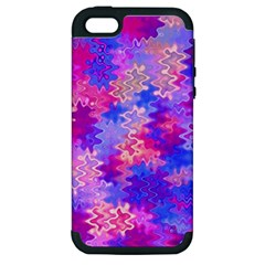 Pink And Purple Marble Waves Apple Iphone 5 Hardshell Case (pc+silicone) by KirstenStar