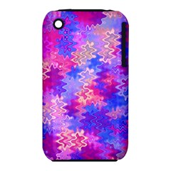 Pink And Purple Marble Waves Apple Iphone 3g/3gs Hardshell Case (pc+silicone) by KirstenStar