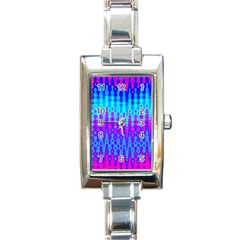Melting Blues And Pinks Rectangle Italian Charm Watches by KirstenStar