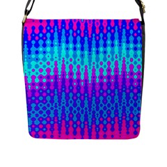 Melting Blues And Pinks Flap Messenger Bag (l)  by KirstenStar
