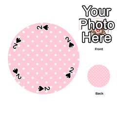 Pink Polka Dots Playing Cards 54 (round)  by LokisStuffnMore