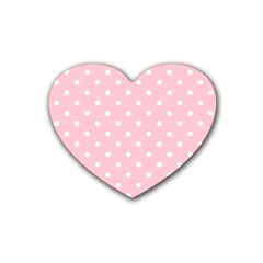 Pink Polka Dots Rubber Coaster (heart)