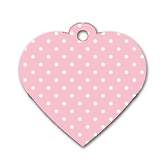 Pink Polka Dots Dog Tag Heart (one Side) by LokisStuffnMore