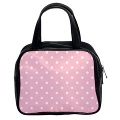 Pink Polka Dots Classic Handbags (2 Sides) by LokisStuffnMore
