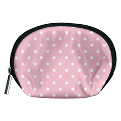 Pink Polka Dots Accessory Pouches (medium)  by LokisStuffnMore