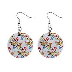 Colorful Paint Strokes 1  Button Earrings by LalyLauraFLM