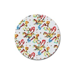 Colorful Paint Strokes Magnet 3  (round) by LalyLauraFLM