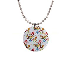 Colorful Paint Strokes 1  Button Necklace by LalyLauraFLM