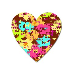 Shapes In Retro Colors Magnet (heart)