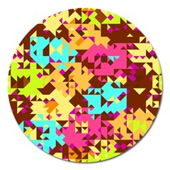 Shapes In Retro Colors Magnet 5  (round) by LalyLauraFLM