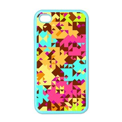 Shapes In Retro Colors Apple Iphone 4 Case (color) by LalyLauraFLM