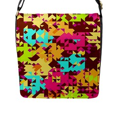 Shapes In Retro Colors Flap Closure Messenger Bag (l) by LalyLauraFLM