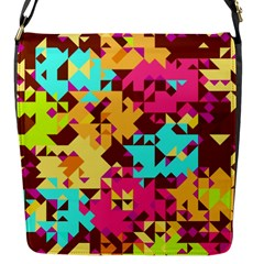 Shapes In Retro Colors Flap Closure Messenger Bag (s) by LalyLauraFLM