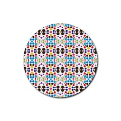 Colorful Dots Pattern Rubber Round Coaster (4 Pack) by LalyLauraFLM
